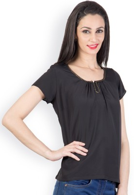 Tops and Tunics Casual Short Sleeve Solid Women's Black Top