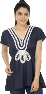 Elmo Casual Short Sleeve Solid Women's Blue Top