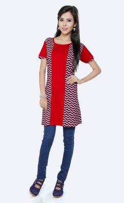 Force Casual Short Sleeve Printed Women's Red Top