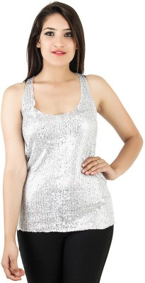 Opiumstreet Party Sleeveless Embellished Women's Silver Top