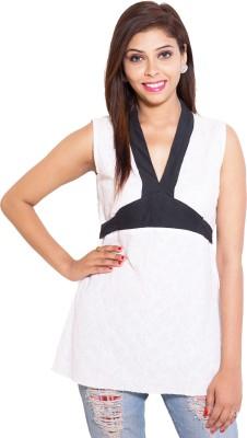 Kanika Creations Casual Sleeveless Self Design Women's White Top