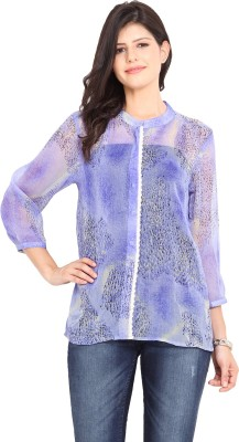 Paprika Casual 3/4 Sleeve Printed Women,s Blue Top