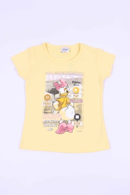 Disney Casual Short Sleeve Graphic Print Girl's Yellow Top