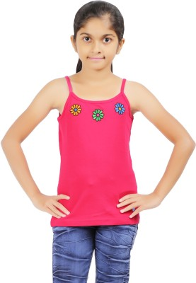 Ventra Casual Sleeveless Solid Girl's Pink Top