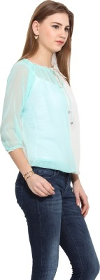 Albely Casual 3/4 Sleeve Solid Women's Blue Top