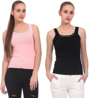 Claude 9 Casual Sleeveless Embellished Women's Pink, Black Top