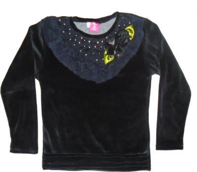 Sweet Angel Casual Full Sleeve Self Design Girl's Black Top