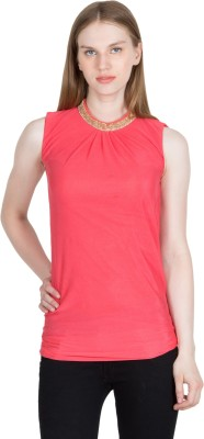 kaaf fashion Party, Festive, Wedding Sleeveless Solid Women's Pink Top