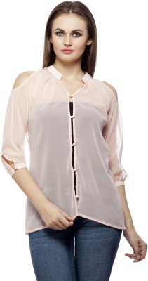 PrettyPataka Casual 3/4 Sleeve Solid Women's Pink Top