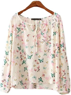 Gifts & Arts Casual Full Sleeve Printed Women,s White Top