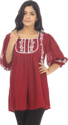 Live With Style Casual Short Sleeve Solid Women's Maroon Top