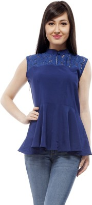 PrettyPataka Casual Sleeveless Solid Women's Blue Top