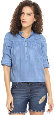 Rena Love Casual 3/4 Sleeve Striped Women's Blue Top