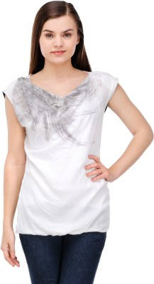 Lmode Casual Sleeveless Graphic Print Women's White Top