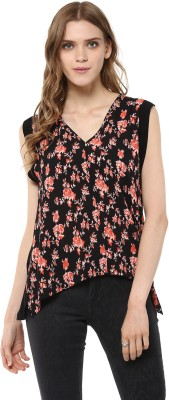 Harpa Casual Sleeveless Floral Print Women's Black Top