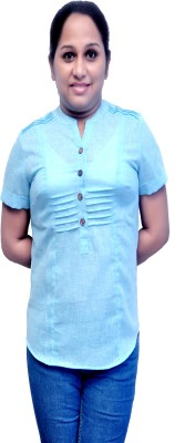 MC Casual Short Sleeve Self Design Women's Light Blue Top