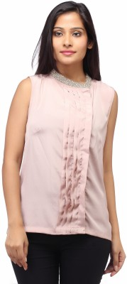 Entease Casual Sleeveless Embroidered Women's Beige Top