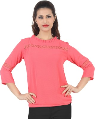 FamGlam Casual 3/4 Sleeve Self Design Women's Pink Top