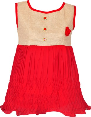 Gee & Bee Casual Sleeveless Embroidered Girl's Red Top