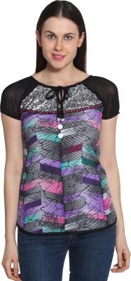 Sienna Casual Short Sleeve Printed Women's Multicolor Top