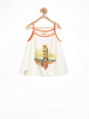 Jn Joy Casual Sleeveless Printed Girl's White Top