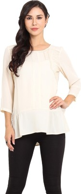 Pryma Donna Casual 3/4 Sleeve Solid Women's Beige Top