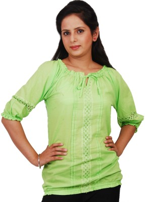 Naughty Bear Casual 3/4 Sleeve Solid Women,s Green Top