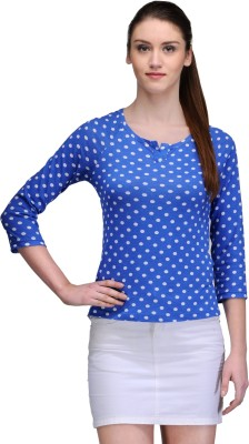Trend18 Casual Full Sleeve Printed Women's Blue Top