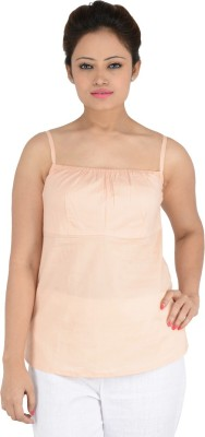 Vritti Casual Sleeveless Solid Girl's Pink Top