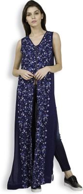 Tokyo Talkies Casual Sleeveless Printed Women's Dark Blue Top