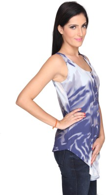 Bombay High Casual Sleeveless Printed Women's Dark Blue Top