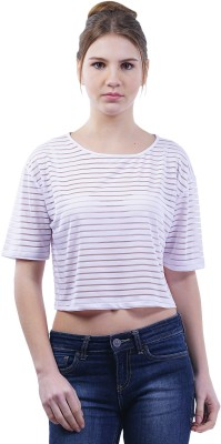 Merch21 Casual Short Sleeve Striped Women's White Top