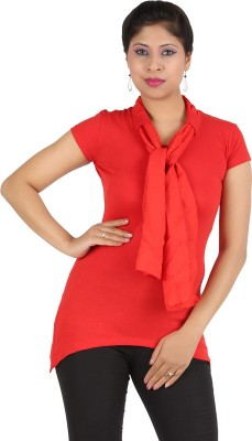 Harsha Casual Short Sleeve Solid Women's Red Top