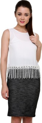 AT BY TARUNA Casual Sleeveless Solid Women's White Top