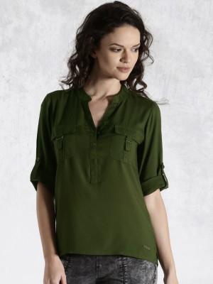 Roadster Casual 3/4 Sleeve Solid Women's Dark Green Top