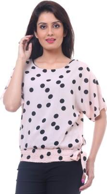 Lynda Party Kimono Sleeve Polka Print Women's Pink, Black Top