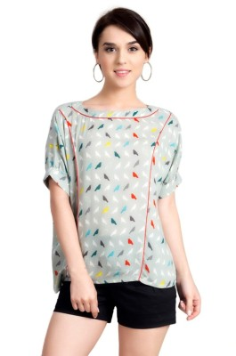 Vivante by VSA Casual Short Sleeve Printed Women's Grey Top