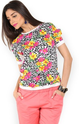 Max Casual Short Sleeve Floral Print Women's Multicolor Top