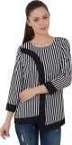 Mystree Casual 3/4th Sleeve Striped Wome...