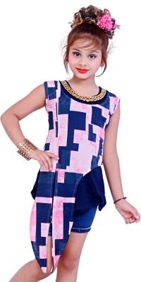 Blinkin Casual Sleeveless Printed Girl's Pink Top