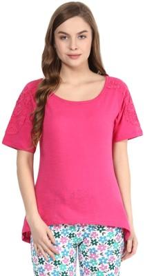 Rose Vanessa Casual Short Sleeve Solid Women's Pink Top