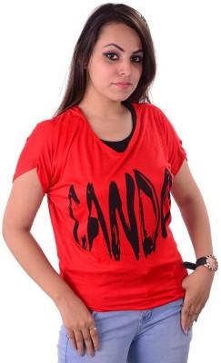 Shivi's Designer Studio Casual Short Sleeve Printed Women's Red Top