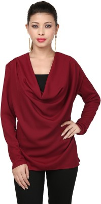Threesome Casual Full Sleeve Solid Women's Maroon Top