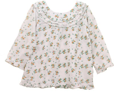 My Little Lambs Casual 3/4 Sleeve Printed Girl's White Top