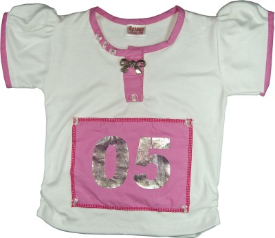 Retaaz Casual, Festive, Party Puff Sleeve Solid Girl's White, Pink Top