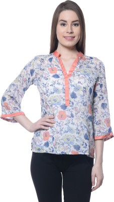 Ritzzy Casual 3/4 Sleeve Printed Women's White Top