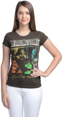 Rolling Stone Casual Short Sleeve Printed Women's Grey Top