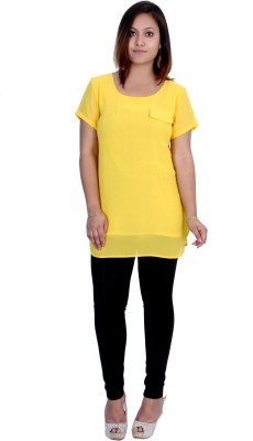 Rich Creations Casual, Party Short Sleeve Solid Women's Yellow Top
