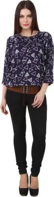 Yati Casual 3/4 Sleeve Geometric Print Women's Dark Blue Top