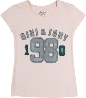 Gini & Jony Casual Short Sleeve Printed Girl's Pink Top